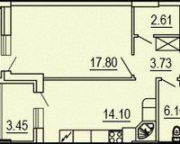 1-квартира 50.34 кв. м.