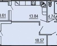 1-квартира 56.95 кв.м.