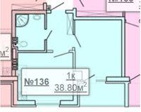 1-квартира 38.8 кв. м.