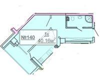 1-квартира 40.16 кв. м.