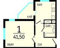 1-комнатная квартира 41.5 кв. м.