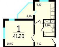 1-комнатная квартира 41.2 кв. м.