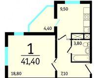 1-комнатная квартира 41.4 кв. м.