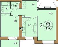 2-комнатная квартира 54.3 кв. м.