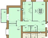 3-комнатная квартира 73.4 кв. м.