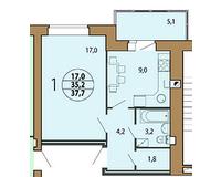 1-комнатная квартира 37.7 кв. м.