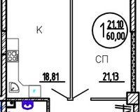 1-комнатная квартира 60 кв. м.