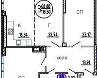 3-комнатная квартира 113.5 кв. м.