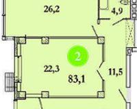 3-квартира 83.1 кв. м.