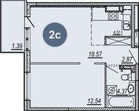 2-комнатная квартира 42.81 кв. м.