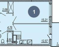 1-комнатная квартира 43.12 кв. м.