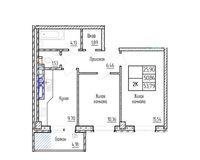 2-комная квартира 53.79 кв.м.