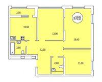 3-комнатная квартира 75.8 кв. м.