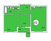 2-комнатная квартира 67.6 кв. м.