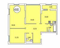 3-комнатная квартира 76.3 кв. м.