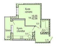 1-комнатная квартира 42.06 кв. м.