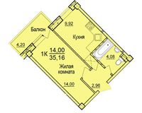 1-комнатная квартира 35.16 кв. м.