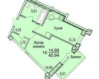 1-комнатная квартира 40.94 кв. м.