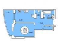 1-квартира 50.53 кв. м.