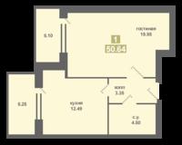 1-квартира 50.64 кв. м.