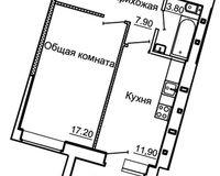 1-комнатная квартира 42.54 кв. м.