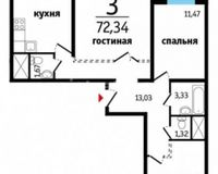 3-комнатные квартиры 72.34 кв. м.