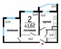 2-комнатные квартиры 43.62 кв. м.
