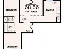 3-комнатные квартиры 68.56 кв. м.