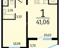 1-комнатные квартиры 41.06 кв. м.