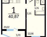 1-комнатные квартиры 40.87 кв. м.