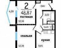 2-комнатные квартиры 48.87 кв. м.