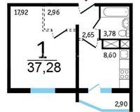 1-комнатные квартиры 37.28 кв. м.