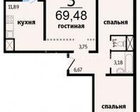 3-комнатные квартиры 69.48 кв. м.