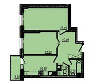 2-комнатная квартира 56.67 кв. м.
