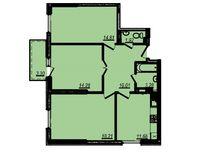 3-комнатная квартира 77.49 кв. м.