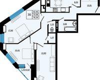 3-комнатная квартира 76.34 кв. м.