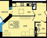 1-комнатная квартира 40.29 кв. м.