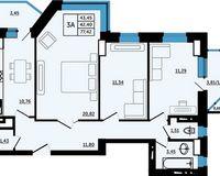 3-комнатная квартира 77.42 кв.м.