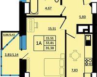 1-комнатная квартира 35.38 кв. м.
