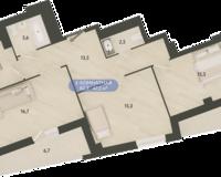 3 комнатная квартира 82.3 кв. м.