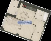 1 комнатная квартира 39.2 кв. м.