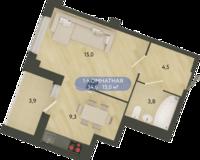 1 комнатная квартира 34.6 кв. м.