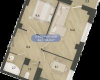 2 комнатная квартира 44.1 кв. м.