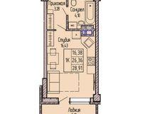 1-комнатная квартира 28.91 кв. м.