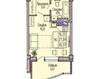 1-комнатная квартира 30.37 кв. м.