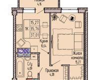 1-комнатная квартира 37.01 кв. м.
