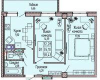 2-комнатная квартира 58.43 кв. м.