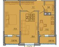 2-комнатная квартира 61.7 кв. м.