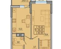 1-комнатная квартира 42.1 кв. м.