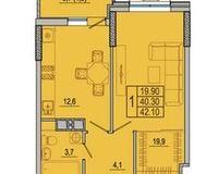1-комнатная квартира 40.9 кв. м.